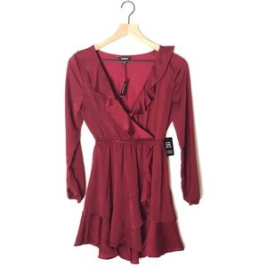 Express Burgundy V-Beck Dress